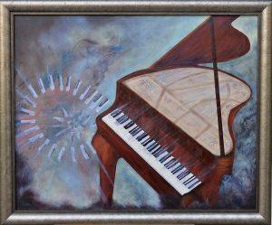 muzyka, obrazy olejne, pianino