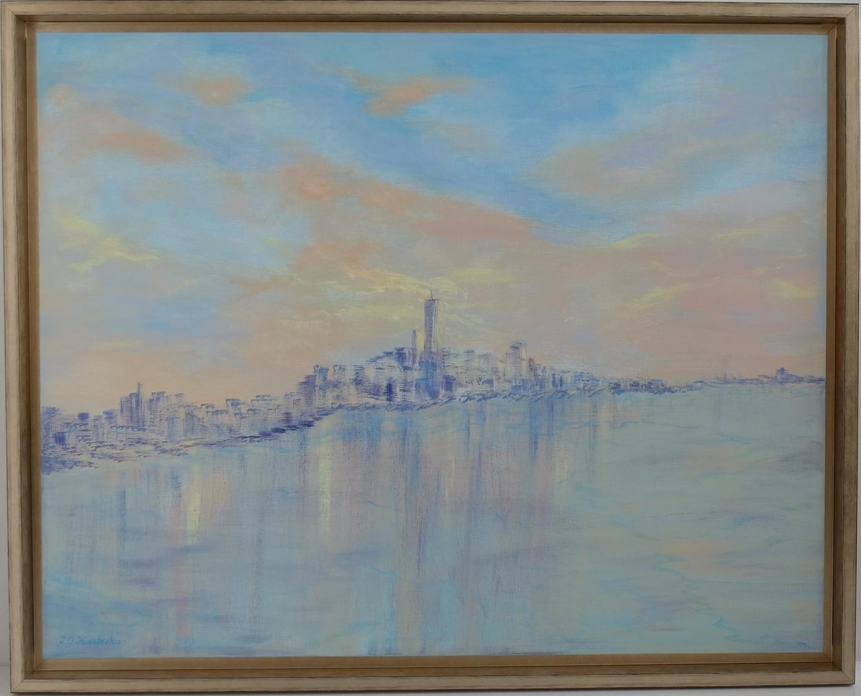 Sunset over New York, obraz akrylowy na płótnie lnianym