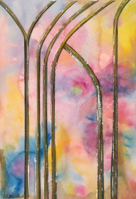 Witraż, akwarela. Obraz ręcznie malowany, malarstwo nowoczesne