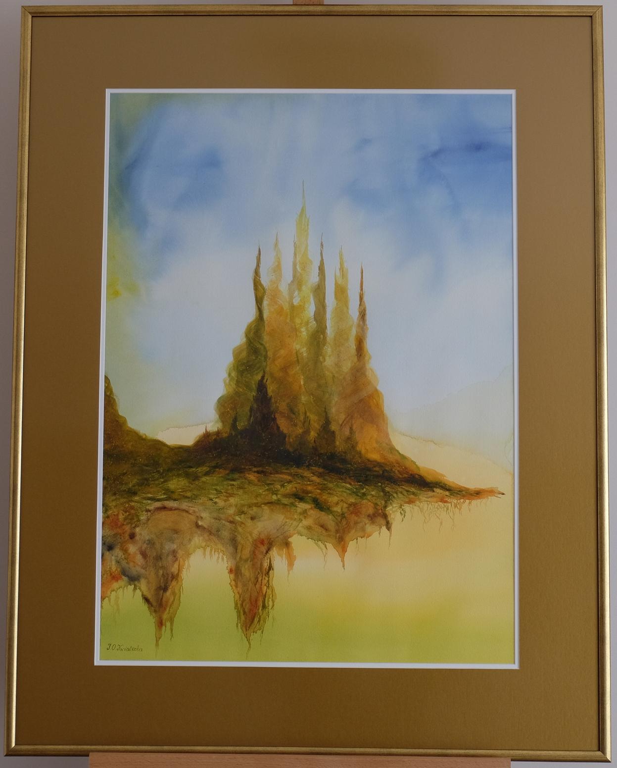 Złote Miasto II, akwarela. Obraz ręcznie malowany, malarstwo nowoczesne