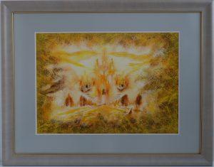 Złote_Miasto I, akwarela. Obraz abstrakcja, ręcznie malowany, malarstwo nowoczesne