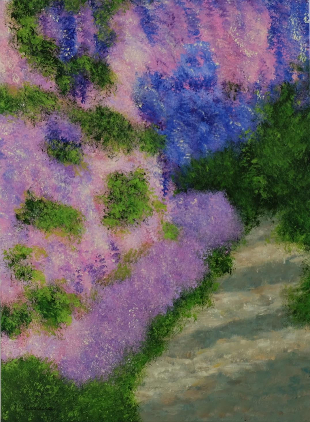 Obraz W moim ogrodzie, akryl na płótnie.