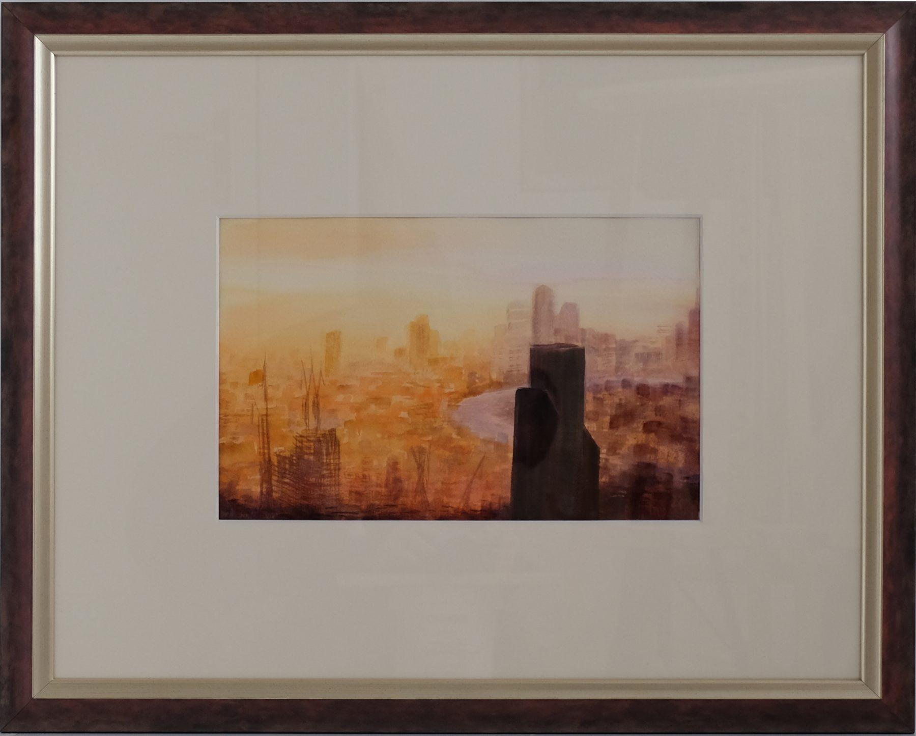 Złote Miasto III, akwarela. Obraz ręcznie malowany, malarstwo nowoczesne