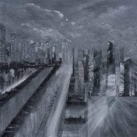 City at night, obraz akrylowy na płótnie lnianym
