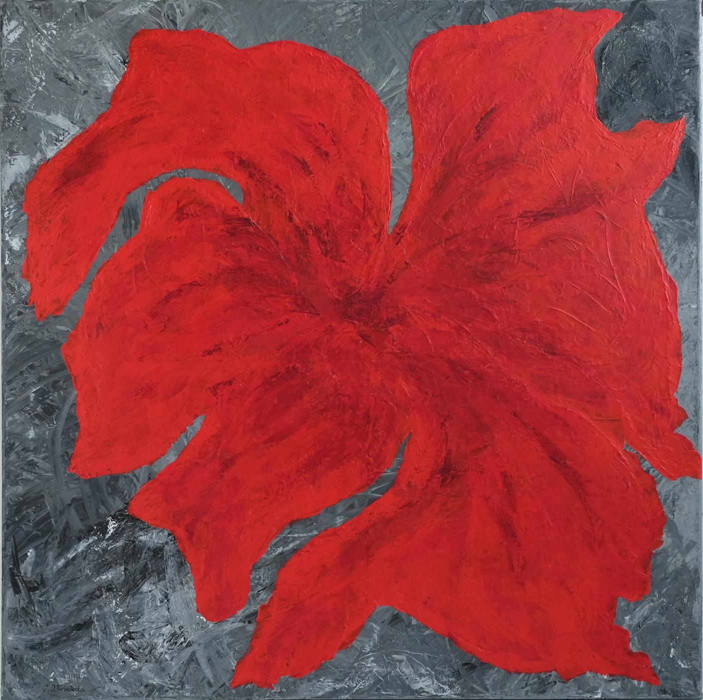 W czerwieni Jej do twarzy, obraz akrylowy na płótnie lnianym, malarstwo nowoczesne