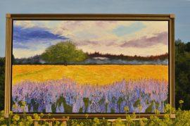 Pejzaż O Zachodzie, obraz akrylowy na płótnie lnianym, malarstwo nowoczesne