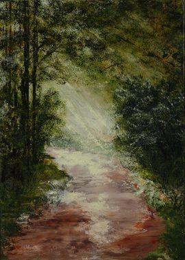 Pejzaż Spacer po lesie, obraz akrylowy na płótnie lnianym, malarstwo nowoczesne