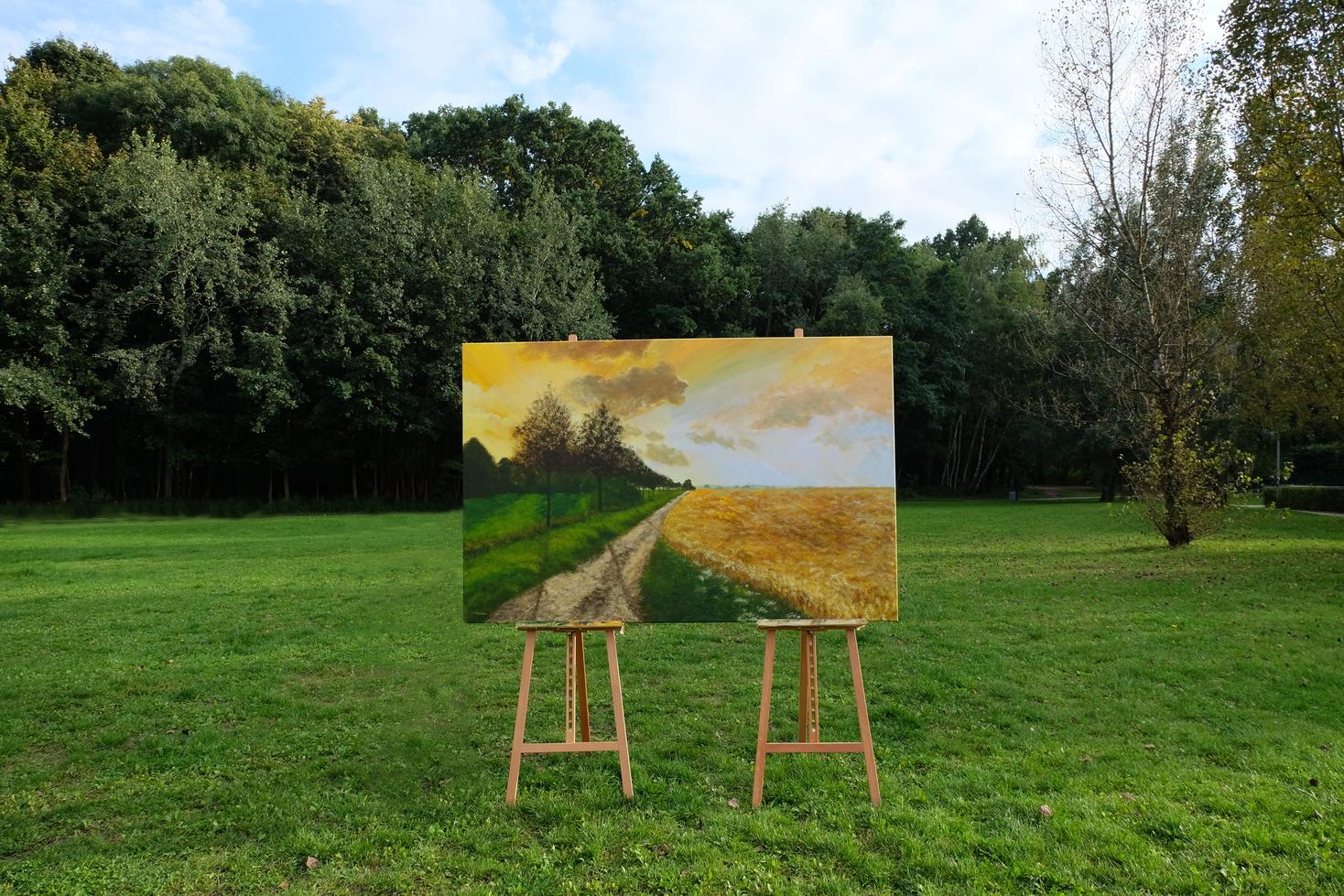 Pejzaż O zachodzie 2, obraz akrylowy na płótnie lnianym, malarstwo nowoczesne