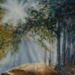 Pejzaż Spacer po lesie II, obraz akrylowy na płótnie lnianym, malarstwo nowoczesne