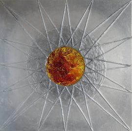 Bursztyn, strukturalny obraz akrylowy na płótnie lnianym